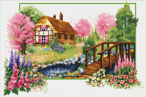 640.045 No-Count Cross Stitch Kits Spring Cottage 47x32cm