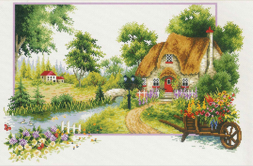 640.046 No-Count Cross Stitch Kits Summer Cottage 46x31cm