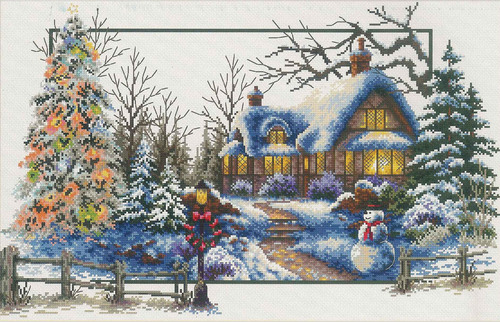 640.048 No-Count Cross Stitch Kits Winter Cottage 51x32cm