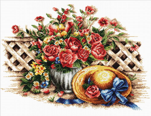 640.049 No-Count Cross Stitch Kits Roses & Sunhat 46x32cm