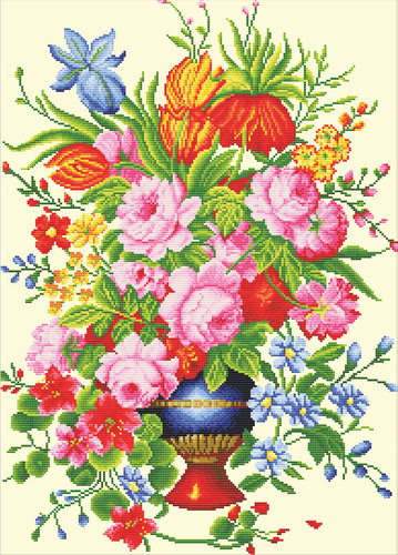 640.056 No-Count Cross Stitch Kits Elegant Floral Arrangement 36x53cm