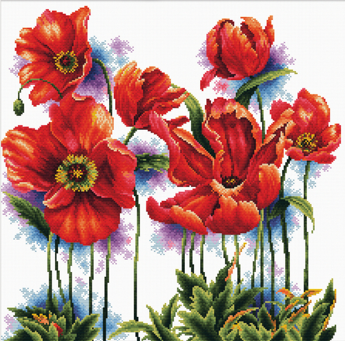 640.069 No-Count Cross Stitch Kits Lovely Poppies 40x40cm