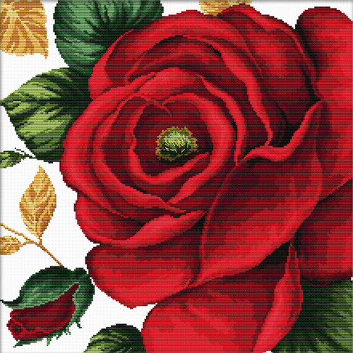 640.084 No-Count Cross Stitch Kits Rose 40x40cm