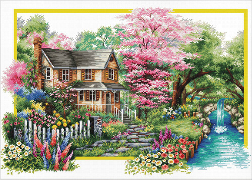 740.058 No-Count Cross Stitch Kits Spring Comes 59x40cm