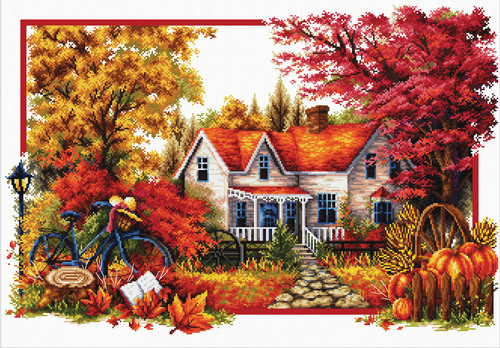 740.071 No-Count Cross Stitch Kits Autumn Comes 59x40cm
