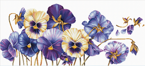 840.073 No-Count Cross Stitch Kits Purple Pansies 97x42cm