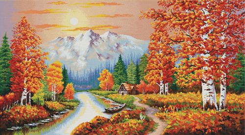 940.067 No-Count Cross Stitch Kits A Flaming Sunset 90x50cm