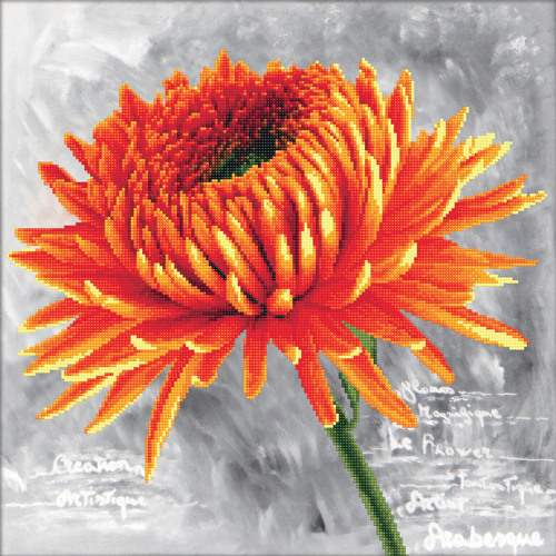 450.017 No-Count Cross Stitch Kits Orange Dahlia 43x43cm