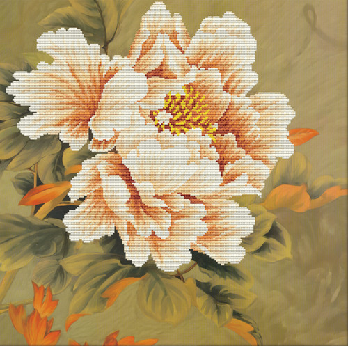 450.038 No-Count Cross Stitch Kits Blooming Peony1 51x51cm