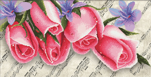 650.010 No-Count Cross Stitch Kits Pink Roses & Music 61x30cm