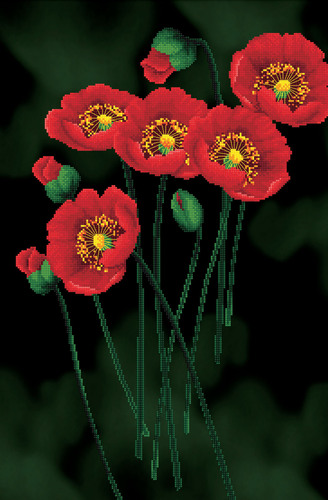 650.011 No-Count Cross Stitch Kits Red Poppies on black 41x62cm