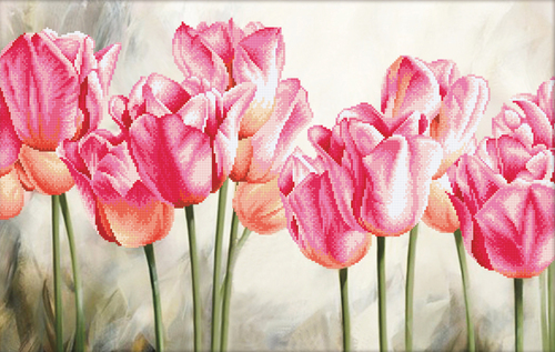 650.021 No-Count Cross Stitch Kits Pink Tulips 67x42cm