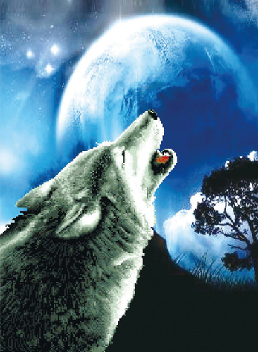 650.027 No-Count Cross Stitch Kits Howling Wolf 46.4x63cm
