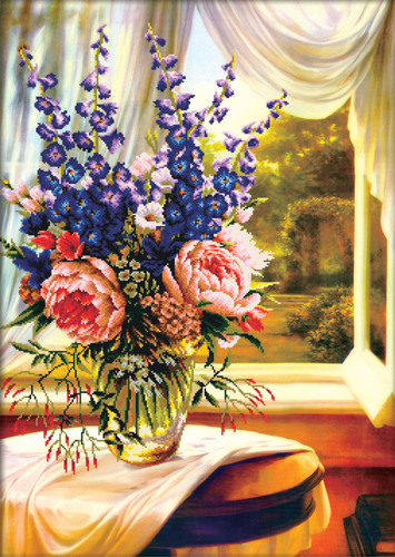 750.019 No-Count Cross Stitch Kits Floral Vase by the window 59x83cm