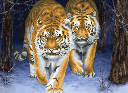 750.042 No-Count Cross Stitch Kits Stalking Tigers 85x62cm