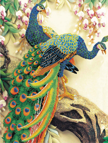 850.004 ## No-Count Cross Stitch Kits Peacock Majesty 74x115cm