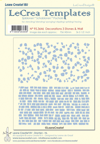 95.3646 Stencil decorations 3. Stones & Wall, size each design 75x140mm