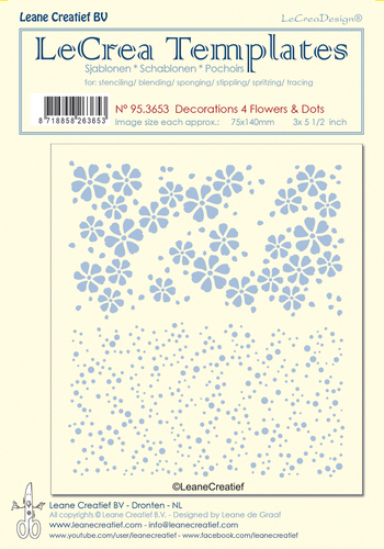 95.3653 Stencil decorations 4. Flowers & Dots, size each design 75x140mm