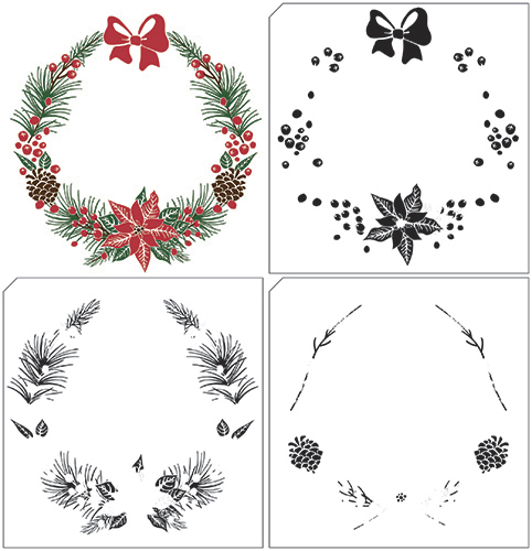 LCS005 Layere stamps with position edge Christmas wreath-1