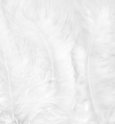 12228-2802 Marabou Feathers, White, 15 pcs/ header bag