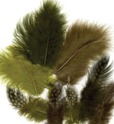 12229-2908 Feathers, Marabou & Guinea Fowl, Assorted Mix, Forest, 6 x 3 pcs, 18 pcs