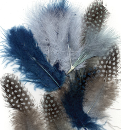 12229-2907 Feathers, Marabou & Guinea Fowl, Assorted Mix, Ocean, 6 x 3 pcs, 18 pcs
