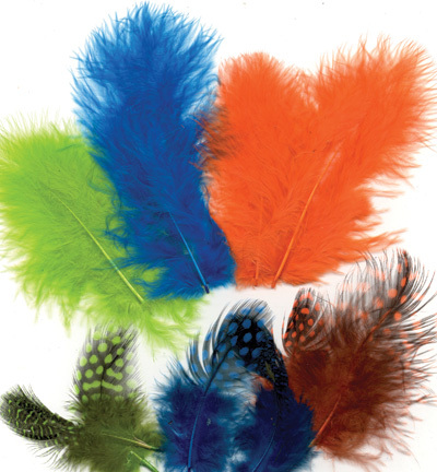 12229-2906 Feathers, Marabou & Guinea Fowl, Assorted Mix, Neon, 6 x 3 pcs, 18 pcs