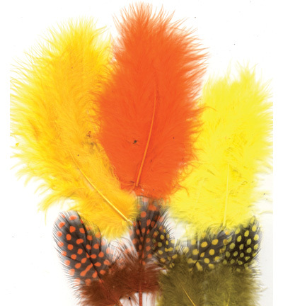 12229-2905 Feathers, Marabou & Guinea Fowl, Assorted Mix, Easter, 6 x 3 pcs, 18 pcs