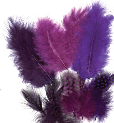 12229-2904 Feathers, Marabou & Guinea Fowl, Assorted Mix, Magic, 6 x 3 pcs, 18 pcs