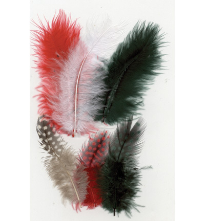 12229-2901 Feathers, Marabou & Guinea Fowl, Assorted Mix, Christmas, 6 x 3 pcs, 18 pcs