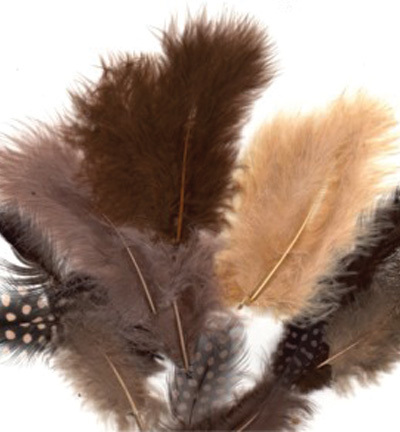 12229-2910 Feathers, Marabou & Guinea Fowl, Assorted Mix, Earth, 6 x 3 pcs, 18 pcs