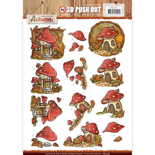 SB10193 Pushout -Yvonne creations - Autumn Mushrooms Houses