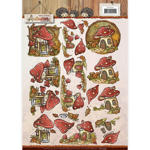 CD10949 3D Knipvel - Yvonne Creations - Autumn Colors - Mushrooms Houses