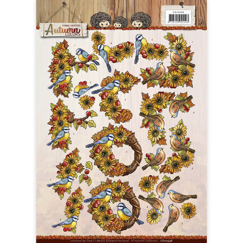 CD10948 3D Knipvel - Yvonne Creations - Autumn Colors - Autumn Birds