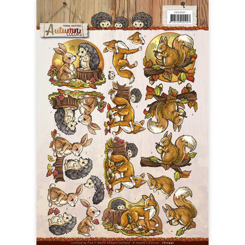 CD10947 3D Knipvel - Yvonne Creations - Autumn Colors - Autumn Animals