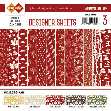 CDDSRD003 Card Deco - Designer Sheets - Autumn-Rood