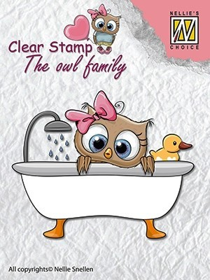 CSO005 Clear stamps: the owl family taling a bath