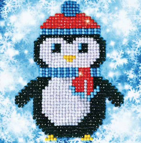DD2.023 Diamond Dotz - 13,5X13,5cm - Christmas Penguin Picture