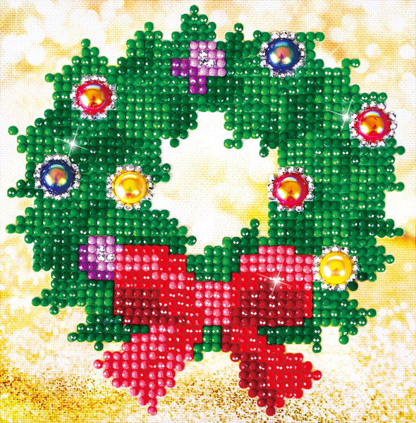 DD2.037 Diamond Dotz - 13,5X13,5cm - Christmas Wreath Picture