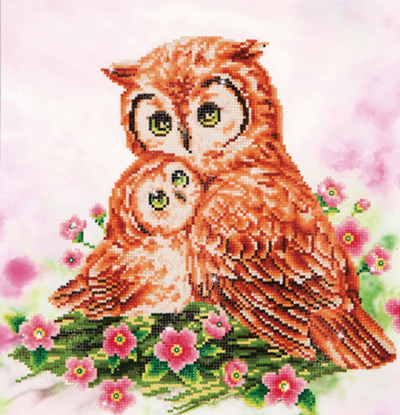 DD7.004 DIAMOND DOTZ® - 42X42cm - Mother & Baby Owl