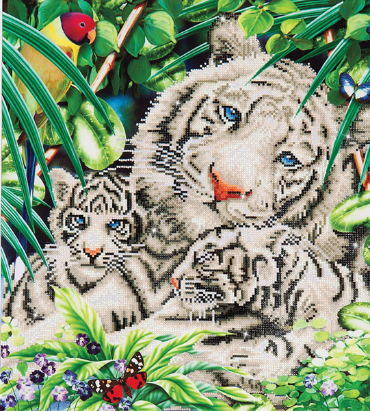 DD10.006 DIAMOND DOTZ® - 52x52cm - White Tiger & Cubs