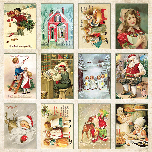 CP-VC07 VINTAGE CHRISTMAS Sheet of elements to be cut out 12X12 ,200gsm 10pcs