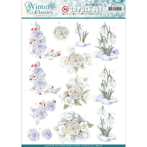 SB10203 Jeanine's Art - Winter Classics - Snow flowers - 3D Push Out