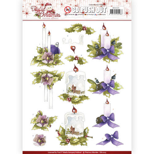 SB10205 3D Pushout - Precious Marieke - Joyful Christmas - Christmas candles