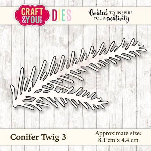 CW033 metal cutting die Conifer Twig 3 - 8,1x4,4cm