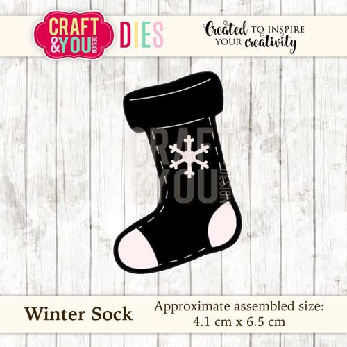 CW036 metal cutting die Winter Sock - 4,1x6,5cm