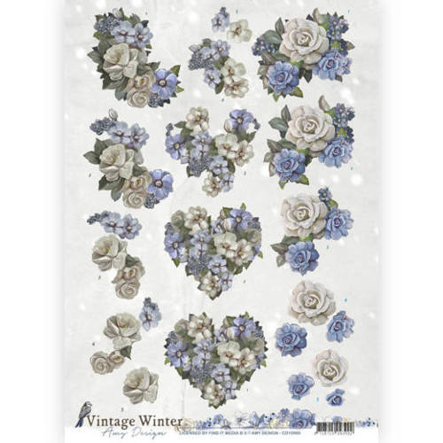 CD10985 3D knipvel - Amy Design - Vintage winter - Winter Flowers