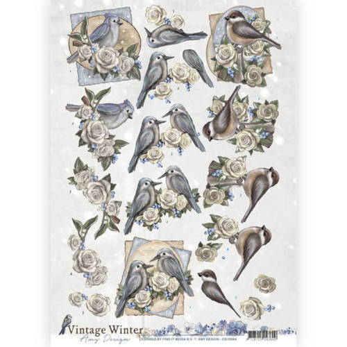 CD10984 3D knipvel - Amy Design - Vintage winter - Winterbirds