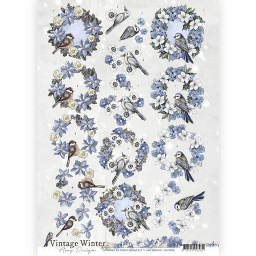 CD10982 3D knipvel - Amy Design - Vintage winter - Wreaths
