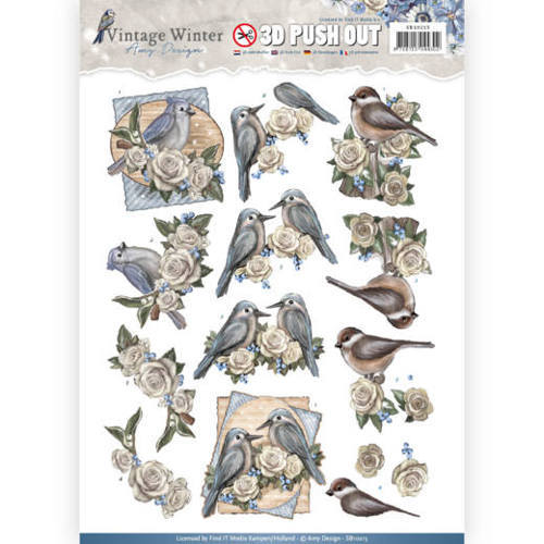 SB10215 Pushout- Amy Design - Vintage Winter - Winter Birds